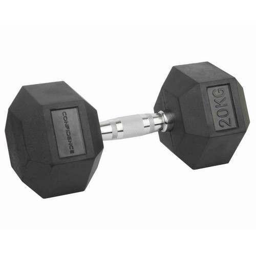 Confidence Fitness 20kg Rubber Hex Dumbbell