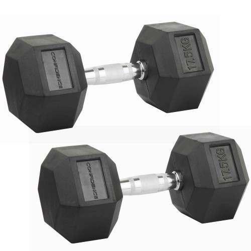 Confidence Fitness 17.5kg Rubber Hex Dumbbell Set