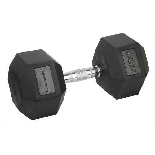 Confidence Fitness 27.5kg Rubber Hex Dumbbell
