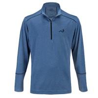 Woodworm Golf Heather Stitch Striped Pullover - Blue