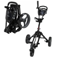 Caddymatic Golf 360° SwivelEase 3 Wheel Folding Golf Trolley Black