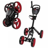 Caddymatic Golf Quad 4-Wheel Folding Golf Pull / Push Trolley Black/Red
