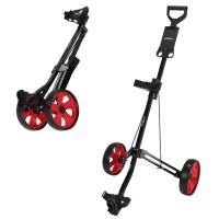 Caddymatic Golf Lite Trac 2 Wheel Folding Golf Trolley Black/Red