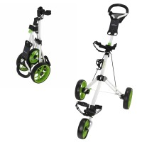 Caddymatic Golf Pro Lite 3 Wheel Golf Trolley White/Green