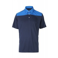 Woodworm Panel Golf Polo Shirts - Blue