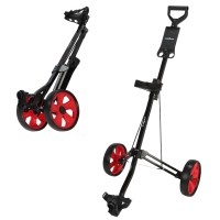 Caddymatic Golf Lite Trac 2 Wheel Folding Golf Trolley Black/Red