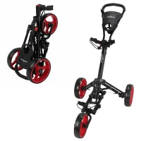 Caddymatic Golf X-Lite One-Click Folding Pull/Push Golf Trolley Black/Red