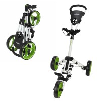 Caddymatic Golf X-Lite One-Click Folding Pull/Push Golf Trolley White/Green