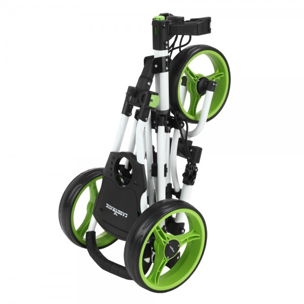 caddymatic golf x lite one click folding pull push golf trolley white green. Black Bedroom Furniture Sets. Home Design Ideas